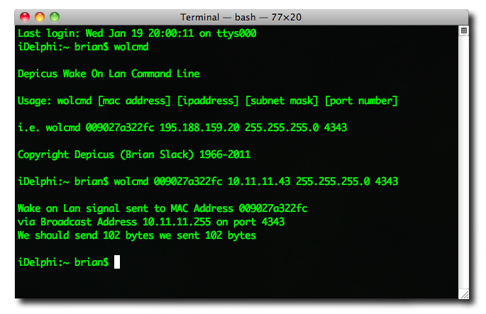 Wake on Lan Command Line for OS X